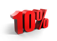 Ten percents 10%. Red 3D figures - ten percents royalty free illustration