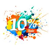 10 percents sale. Splash paint. Ten percents sale. Vector watercolor splash paint Royalty Free Stock Images