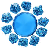 Ten pieces of ice and round puddle Royalty Free Stock Photography
