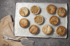Ten pies on a baking tray. Ten cooked meat pies on a baking tray fresh from the oven royalty free stock image