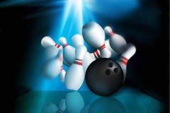 Ten pin bolwing illustration of a strike Stock Images