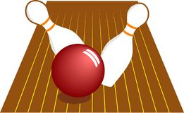 Ten Pin Bowling. Skittles being knocked over by the bowling ball Royalty Free Stock Photos