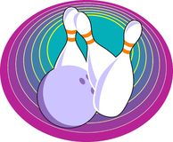 Ten Pin Bowling. Skittles and ball design Royalty Free Stock Images