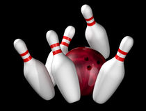 Ten pin bowling. Illustration of bowling ball and pins isolated on black Stock Image