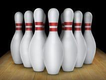 Ten pin bowling alley background. Closeup of tenpin row on a lane, night light. For design Stock Photos