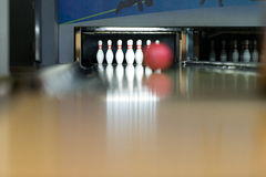 Ten Pin Bowling Ball. Bowling Ball Focused And At The End, The Pins Waiting For The Shot Stock Photography