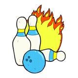 Ten pin bowling comic cartoon. Ten pin bowling retro comic book style cartoon Royalty Free Stock Image