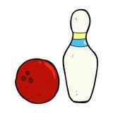 Ten pin bowling comic cartoon. Ten pin bowling retro comic book style cartoon Royalty Free Stock Images