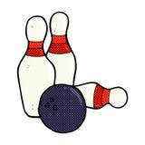 Ten pin bowling comic cartoon. Ten pin bowling retro comic book style cartoon Stock Image