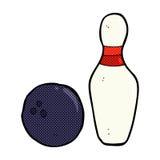 Ten pin bowling comic cartoon. Ten pin bowling retro comic book style cartoon Stock Photography