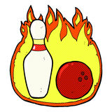 Ten pin bowling comic cartoon symbol with fire. Ten pin bowling retro comic book style cartoon symbol with fire Stock Images