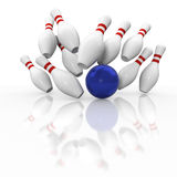 Ten pin bowling graphic strike on white background. Ten pin bowling strike in graphic action with all pins in the air on white background with blue ball Stock Photos