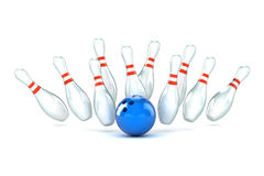 Ten Pin Bowling Illustration. A Colourful 3d Rendered Ten Pin Bowling Illustration Royalty Free Stock Image