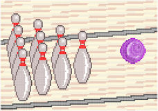 Ten Pin Bowling. Illustration of the game of Ten pin Bowling with a bowling ball rolling down the lane to strike the pins. Square pixels of various colors have Royalty Free Stock Photography