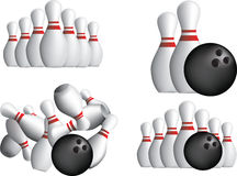 TEN PIN BOWLING PINS. Isolated o a white background Royalty Free Stock Image