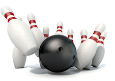 Ten Pin Bowling Pins And Ball. An arrangement of white and red used vintage bowling pins being struck by a bowling ball on an isolated white studio background Stock Photography