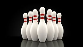Ten pin bowling. Pins on black background Royalty Free Stock Images