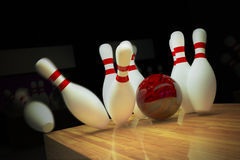 Ten-pin bowling shot. Stock Photography