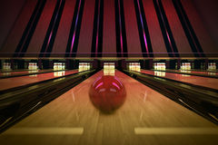 Ten-pin bowling shot. Stock Photos