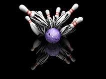 Ten pin bowling smash. 3D render of a bowling ball smashing into pins Stock Photo