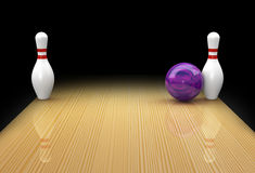 Ten pin bowling spare as Snake Eyes or Bed Posts. Ten pin bowling spare or split called Bed Posts or Snake Eyes with mauve ball in action on black background Stock Image
