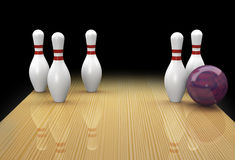 Ten pin bowling spare called Greek Church. Ten pin bowling spare in a realistic lane with mauve ball in action picking up a Greek Church or Cathedral spare on Royalty Free Stock Photography