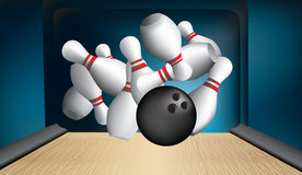 Ten pin strike out Royalty Free Stock Image