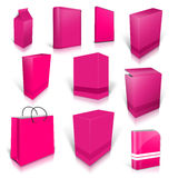 Ten pink blank boxes isolated on white Stock Photo