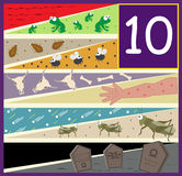 The Ten Plagues. An illustration of the ten plagues of Egypt. Eps10 Stock Photos