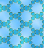 Ten pointed star seamless pattern blue golden Stock Photos