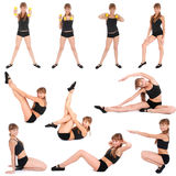 Ten poses. Fitness Girl Stock Image