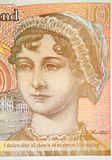 Ten Pound Note With Portrait of Jane Austen and quotation. Closeup detail of UK ten pound note pound with portrait of Jane Austen and quotation about the royalty free stock photo