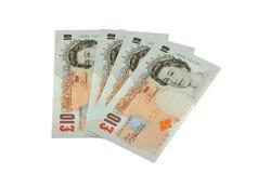 Ten Pound Notes. Four British ten pound notes Stock Photo