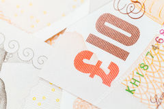 Ten pound notes of the Bank of England. Close-up Royalty Free Stock Photos