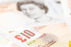 Ten pound notes, Bank of England. Close-up Royalty Free Stock Images