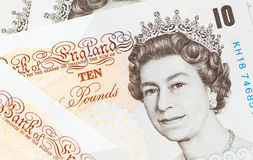 Ten pound notes of the Bank of England Stock Image