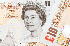 Ten pound notes of the Bank of England. Closeup Stock Images