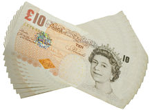 Ten pounds. Stack of £10 notes fanned out Stock Photos