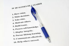 Ten Qualities of a Leader. A business concept for human resources and management royalty free stock photos