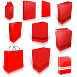 Ten red blank boxes  on white Stock Images