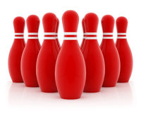 Ten red bowling pins. On white background Stock Images
