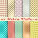 Ten Retro Different Vector Seamless Patterns Royalty Free Stock Photo