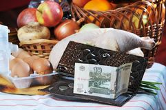 Ten roubles and the bought products. Stock Photos