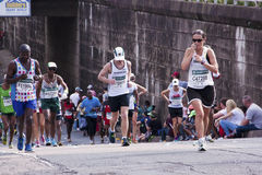 Ten Runners Competing in Comrades Ultra Marathon Stock Photo