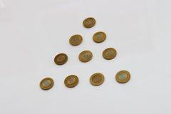 Ten rupee coin of India. Pyramid pattern design Stock Photos