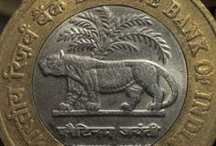 Ten rupee coin issued by Indian Government Royalty Free Stock Photos