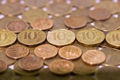 Ten Russian rubles on money background Royalty Free Stock Photo