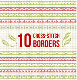 Ten seamless borders for Cross-stitch embroidery Royalty Free Stock Photo