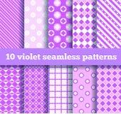 Ten seamless geometric violet patterns. Set of ten seamless geometric violet patterns Stock Images