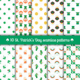 Ten seamless patterns for Saint Patrick's Day design. Set of 10 seamless patterns for Saint Patrick's Day design with traditional elements of this holiday stock illustration